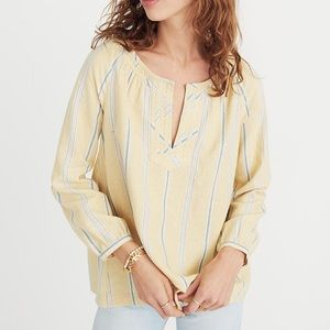 Madewell• Tie Back Peasant Stripes Blouse S